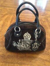Juicy Couture Handbag, Brown Velour With Black Leather Trim Zipper Closure