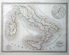 ITALIA ANTICA, Thierry, ORIGINALE COLORATO A MANO ANTICO c1840 Mappa