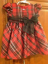 NWT Bonnie Baby Christmas Holiday Plaid Red Dress size 24 months 2T