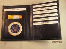 USAF UNITED STATES AIR FORCE BLACK LEATHER BIFOLD PASSPORT WALLET CARD HOLDER