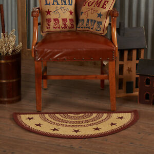 """VHC Brands Primitive 16.5""""x33"""" Star Accent Rug Red Stenciled Tan Floor Decor"""