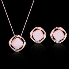 Jewelry Set Rose Gold Pink Opal Natural Gemstone Pendant Necklace EarPin Earring