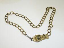 """Brass Chain Belt & Buckle, Vintage Womens 38"""" Heavy Duty Brass Double Loop Chain"""