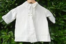 Vintage Baby Christening Coat White Satin Lined Embroidered Collar Pearl Button