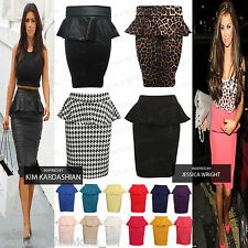 New Womens Ladies Peplum Frill Pencil Bodycon Knee Length Skirt Plus Size 8-22