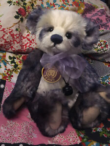 CHARLIE BEAR 'SAMANTHA', WINTER WHITE/PURPLE, 2010, WITH TAGS AND CLOTH BAG.