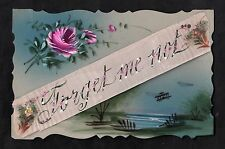 C1916 French plastic card - decorative flowers 'Forget me not' Silk Banner