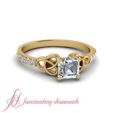 Asscher Cut Diamond Celtic Pattern Delicate Yellow Gold Engagement Ring 0.65 Ctw