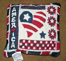 """America Americana Patriotic Celebration 4th of July 17"""" Tapestry Square Pillow"""
