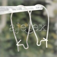 Silver Ear Safety Hooks Long Kidney Wires for Dangle Drop Earrings Making 0.5x35