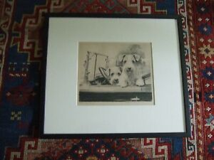 Etching of Two Terriers in Car by Morgan Dennis Framed