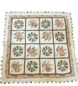 """Handmade Quilt  59"""" x 39 3/4""""  Dresden Plate Vtg. Feed Sack ? Lap Quilt Multi"""