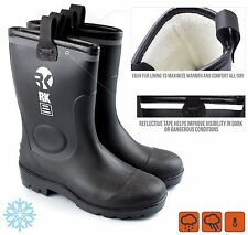Insulated Waterproof Fur Interior Rubber Sole Winter Snow Cold Boots -RKBW-BLK