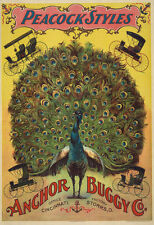 """AD40 Vintage Peacock Victorian Carriage Buggy Advertising Poster A3 17""""x12"""""""