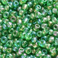 perline rocaille in vetro Trasparente 2mm Verde AB 20g (12/0)