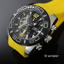 Invicta Pro Diver Chrono Black Dial Yellow Silicone Strap 50mm Men's Sport Watch
