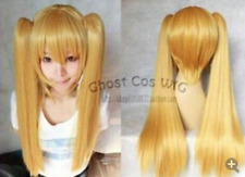 Hot! New Blonde Mixed Cosplay Split -Type Wig And With 2 PigTails F4