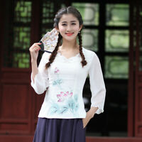 Chinese Traditional Tops Women Linen Shirt Summer Blouse Size M-2XL