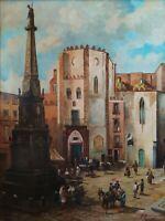 Antico Dipinto Olio su tavola 1937 Paesaggio Napoli antica San Domenico Maggiore