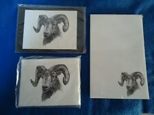 Big Horn Sheep 3 Piece Set-Notepad, Print & 6 Blank Notecards with Envelopes New