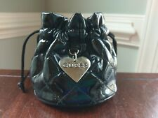 Guess Black Patent Leather Quilted Drawstring Pouch Bag Purse Silver Heart Charm