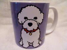NOS Marc Tetro BICHON FRISE Purple & White ART POTTERY Dog Lover MUG CUP