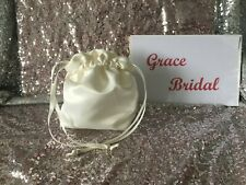 IVORY DUCHESS SATIN DOLLY BAG BRIDAL BRIDESMAID FLOWER GIRL  *free swatches*