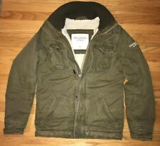Mens ABERCROMBIE & FITCH Sherpa Fur Lined Military Jacket Coat Olive Size MEDIUM