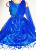 Ragazze ROYAL BLU PERLINE Trim Chiffon piena lunghezza Pageant Princess Abito da sera