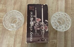 2 Vintage Posy Ring Floral Taper Candle Arrangement Frogs NEW