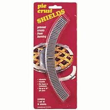 "5 Adjustable Pie Crust Shields Prevents Burning Reusable Fits 10"" Pan MADE USA"