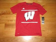 NEW Boys WISCONSIN BADGERS Adidas Climalite Youth T-Shirt Size L 14-16 LG LRG