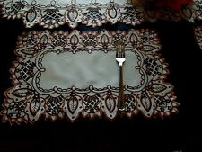 """2pcs 12""""x18""""Embroidered Placemat Brown Table Topper Cutwork Design Home Decor"""