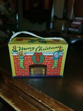 Vintage 40s Merry Christmas Stockings Cardboard Fold Gift Candy Box Ornament