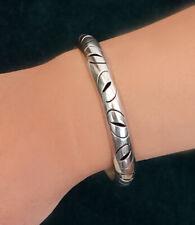 Vintage Solid Sterling Silver Pierced Bangle Bracelet Mexico  22.9 Grams