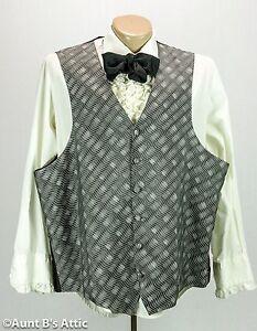 Vest Men's Gray & Black Patterned Full Back Victorian Steampunk Style Vest 2XL