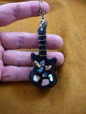 (KEY-23)  blue white Mexican Opals opal black Guitar instument keychain keyring