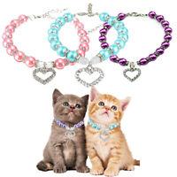 Pet Cat Puppy Dog Pearl Necklace Rhinestone Crystal Love Pendant Chain Collar
