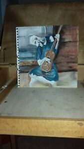 Pablo Picasso Inspired Original Painting - The Old Guitar Player