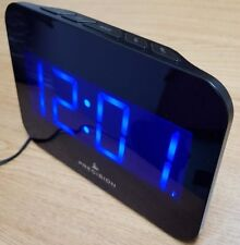 Precision Radio Controlled Tablet Size Blue LED Dial Black Case Wall Alarm Clock