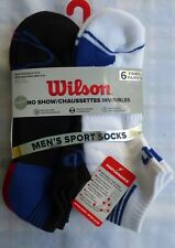 Wilson No Show 6 PACK Mens Low Cut Socks Fits Shoe 6-12 Blue Red Black & White