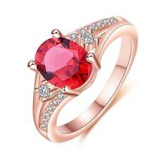 Elegant Style Luxury Red Garnet Zircon Gems Rose Gold Plated Friendship Rings