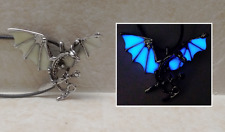 Flying DRAGON and SWORD GLOW in the DARK Blue Fantasy Charm Pendant Necklace