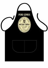 "MENS,WOMENS,UNISEX,BLACK PRINTED NOVELTY APRON,BBQ "" PURE GENIUS""AS ADULT"