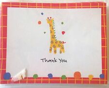 Giraffe Thank You Cards (12) by Roobee New Colorful Primary Birthday Baby Shower