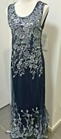 Womens Maxi Dress Navy Blue Duel Layer Sleeveless Lined Multi-Layer BLING Sz 16