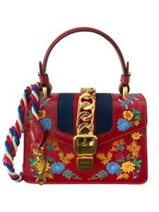 NIB Gucci Mini Sylvie Flower Embroidery Red Leather Top Handle Shoulder Bag