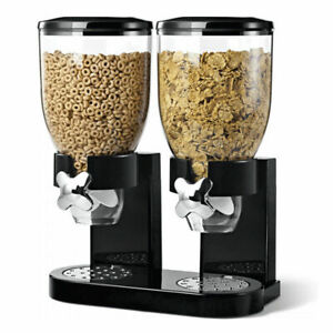 CEREAL DISPENSER DOUBLE SIZE DRY FOOD KITCHEN STORAGE TWIN CONTAINER MACHINE
