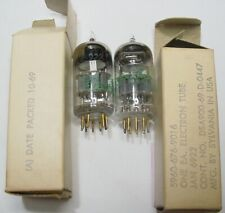 NIB PAIR SYLVANIA JAN 6922 TUBES ECC88 7308 5960-676-9016 Pk 10-69 Test TV-10B