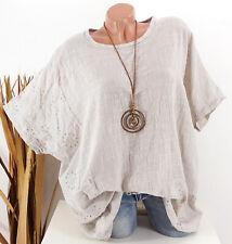 Tunika Oversize Bluse Shirt Stickerei Leinen Look Kette beige 44 46 48 50 52